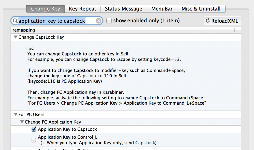 Karabiner Application Key to CapsLock